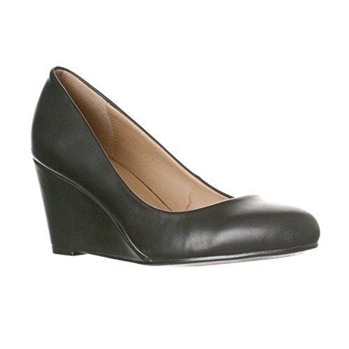 Riverberry Women's Leah Mid Heel Round Toe Wedge Pumps, Black PU, ()