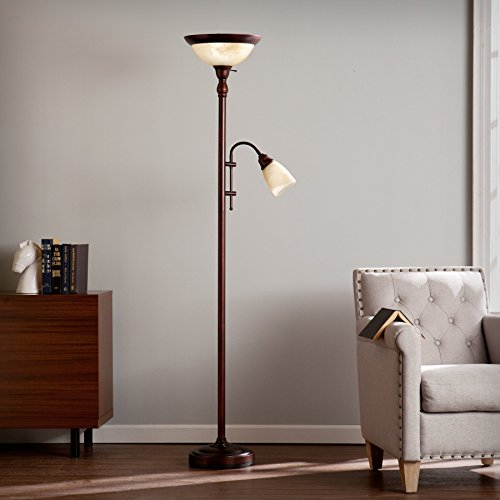 (Clara Universal Brushed Antique Bronze with Frosted, Brushed Ivory Glass Steel Floor)