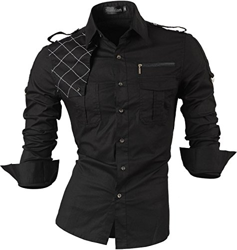 jeansian Men's Slim Fit Long Sleeves Casual Shirts 8371 Black L (Goth Work Shirt)