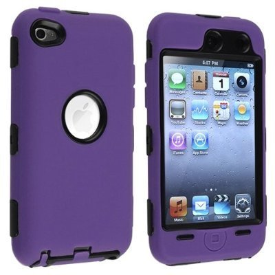 Black Hard / Purple Skin Hybrid Case Cover compatible with Apple iPod Touch 4G, 4th Generation, 4th Gen 8GB / 32GB / 64GB