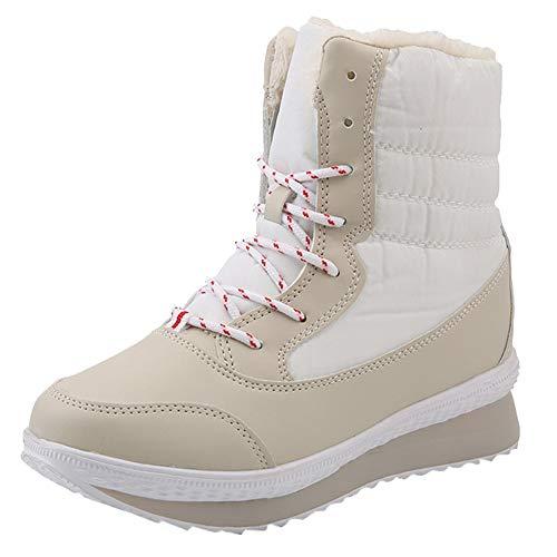 Velluto Imbottiti Beige Le Da A Tengono stivali Stivali Metà Calde Scarpe In Donne Polpaccio Donna Più Invernali g1wxwqZO