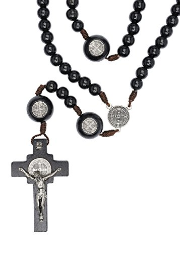 St Benedict Mens Large Intercession Rosary - Made in Brazil (Black with Medals on our Father Beads)
