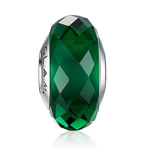 Facet Glass (Glamulet Sports - Dark Green Rhombic Facets Murano Glass Beads Charm - 925 Sterling Silver)