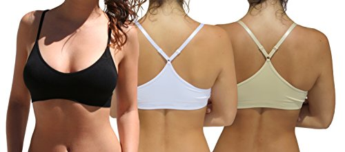 Blue 55 Women's Sexy Everyday Basic Deep V-Neck Padded Bralette Racerback (3 Pack: Black White Beige, M/L)