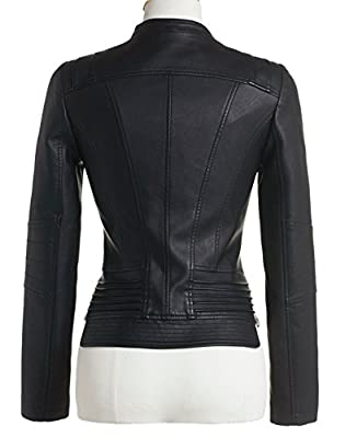 Chouyatou Women's Casual Collarless Perfect Fit Cropped Pu Leather Biker Jacket