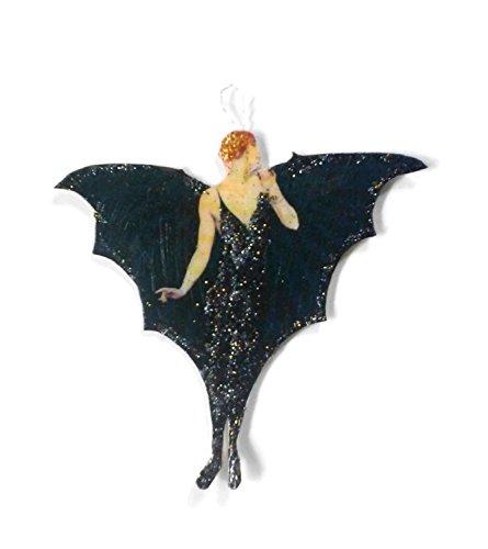 Halloween Ornament Decoration Bat Lady Art (Halloween Decorations Recycled)