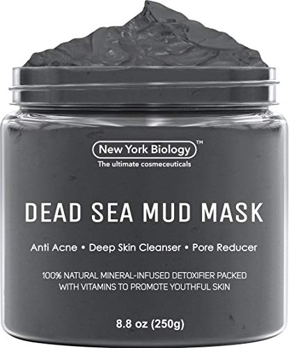 New York Biology Dead Sea Mud Mask for Face and Body - Spa Quality Pore Reducer for Acne, Blackheads and Oily Skin, Natural Skincare for Women, Men - Tightens Skin for A Healthier Complexion - 8.8 ounces