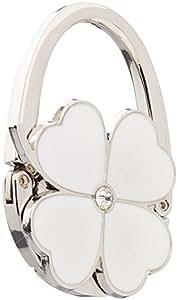 Four Leaf Clover Design Foldable Handbag Hanger Folding Purse Table Hook Holder(White)