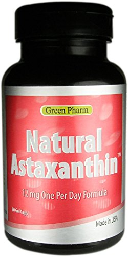 ($0.38/count, 600mg) Free Shipping Oversea, Buy 10 get 6 Free, $370 /16 bottles, 960 Gel Caps, Natural Hawaiian Astaxanthin 12 mg 60 caps by Green Pharm