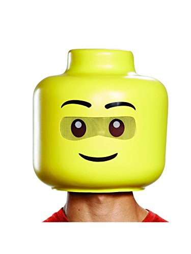 Disguise Men's Lego Guy Adult Full Head, Yellow, One Size]()