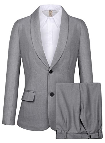 siness Casual Shawl Collar Formal Blazer Suit Pants Sets MI35 (Dark Grey, 10) ()