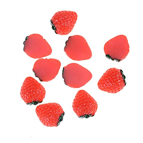 ZAMTAC 10pcs/lot DIY Figurines & Miniatures Strawberry Fruit Resin Flat Back Cabochon Miniature Food Art Supply Charm Decorative Crafts - (Size: S) - Cabochon Art