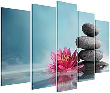 Impresión de Lienzo de Pared Arte – agua lirio con Zen Piedras – Decoración para el hogar, las