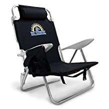 Sol Coastal 4-Position Lay Flat Beach Chair with Carry Straps and Storage Pouch, Black