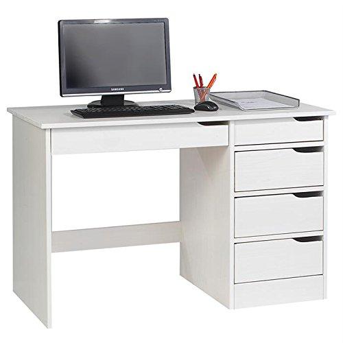 Bureau HUGO avec rangement 5 tiroirs style scandinave en pin massif lasuré blanc