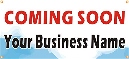 [Vinyl] Alice Graphics 22inX48in Custom Printed Coming Soon Banner Sign with Your Business Name - Open Soon Banner