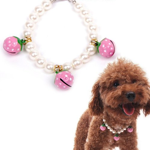 Alfie Couture Designer Pet Jewelry – Nora Pearl Necklace with Pink Strawberry – Size: L (12″- 14″) for Dogs and Cats, My Pet Supplies