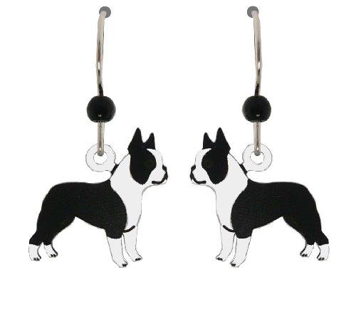 Sienna Sky Black and White Boston Terrier Dog Earrings 1633