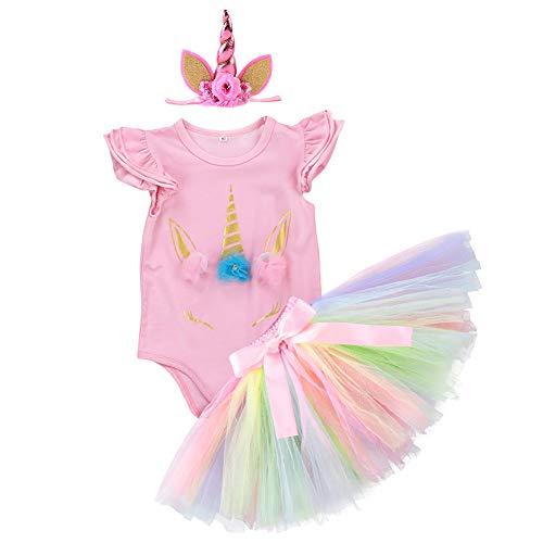 3PCS Unicorn Party Fall Outfit Newborn Baby Girls 1st Birthday Costume Romper + Tutu Skirt Dress + Headband Clothing Set 3pcs Pink Unicorn 3-6 Months ()