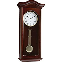 Kassel Quartz Pendulum Wall Clock - Golden Tone Finish Crafted Wood Frame & Glas