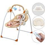 CBBAY Baby Swing Chair Electric Cradle Automatic Bassinet Baby Basket Bed Newborn Crib Rocking Music Sleeping (Yellow)