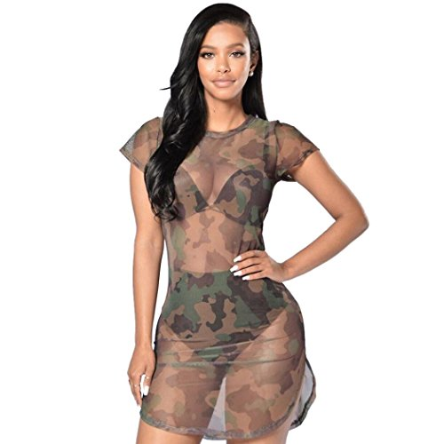 Boomboom Summer Dress, 2018 Women Transparent Camouflage Gauze See-Through Sheer Mini Dress (XL, Camouflage)