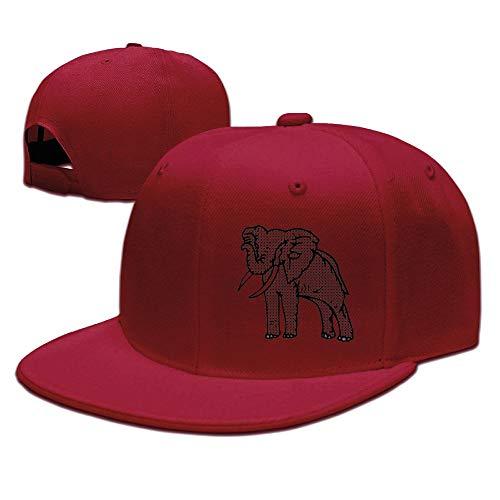 Aiguan Houndstooth Elephant Flat Visor Baseball Cap, Designed Snapback Hat Red