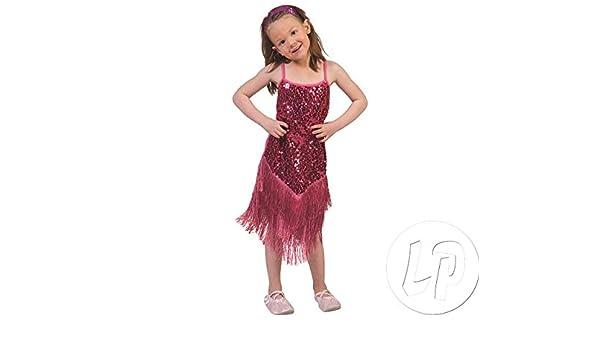 Disfraz Charleston vestido Glamour Rosa Niño tamaño 140 Disfraz ...