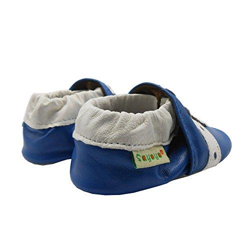 Sayoyo Suaves Zapatos De Cuero Del Bebé Zapatillas jirafa azul