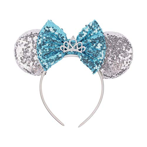 YanJie Mouse Ears Bow Headbands, Glitter Party 4th July Mermaid Decoration Cosplay Costume for Children & Adults (DSNFG-5)]()