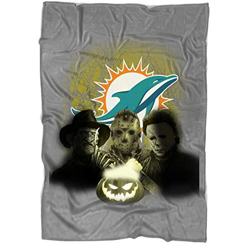 Halloween Miami Dolphins (COLOSTORE Halloween Blanket for Bed and Couch, Miami Dolphins Blankets - Perfect for Layering Any Bed (Medium Blanket)