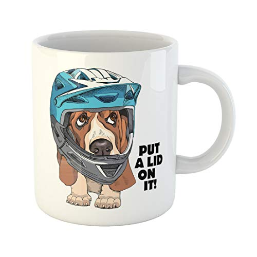 Emvency Funny Coffee Mug Brown Animal Basset Hound Puppy in Blue Full Face Bike Helmet Bicycle Adorable 11 Oz Ceramic Coffee Mug Tea Cup Best Gift Or Souvenir
