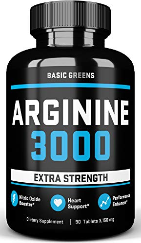 L Arginine 3150 Nitric Oxide Supplements For Men Arginine For Muscle Growth, Extra Strength, Vascularity, Endurance and Heart Health (90 Tablets) by Basic Greens