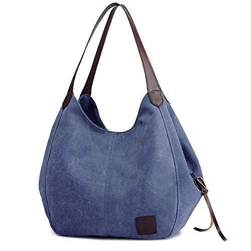DOURR Women's Multi-pocket Shoulder Bag Fashion Cotton Canvas Handbag Tote Purse (Dark Blue)