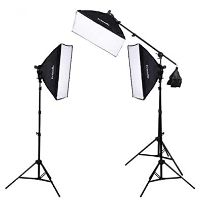 Interfit F5 3-Head Continuous Fluorescent 5600K Daylight Lighting Kit: (3) 5-Lamp Heads, (15) 32W Lamps, (3) Softboxes, (2) 7.5' Air-Cushioned Lightstands, (1) 10' Light stand w/(1) Boom Arm