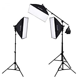 Interfit F5 3-Head Continuous Fluorescent 5600K Daylight Lighting Kit: (3) 5-Lamp Heads, (15) 32W Lamps, (3) Softboxes, (2) 7.5\' Air-Cushioned Lightstands, (1) 10\' Light stand w/ (1) Boom Arm