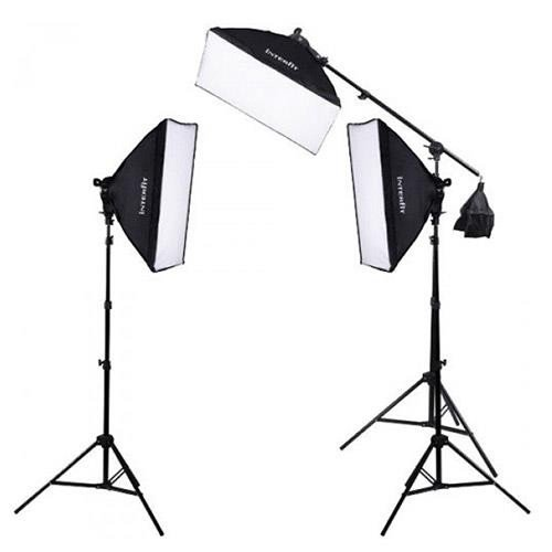 Kit W/ 2 Lamps - Interfit F5 3-Head Continuous Fluorescent 5600K Daylight Lighting Kit: (3) 5-Lamp Heads, (15) 32W Lamps, (3) Softboxes, (2) 7.5' Air-Cushioned Lightstands, (1) 10' Light stand w/(1) Boom Arm