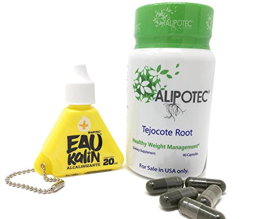 Alipotec Capsules Tejocote Root Supplement Capsulas Alipotec Raiz de Tejocote 90 Day Supply and Eau Kalin Alkaline Water - 2 Product Pack ()