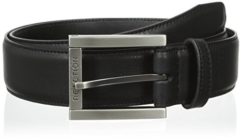Kenneth Cole REACTION Men's Dress Casual Belt with Edge Stitch and Matte Buckle with Roller, Black, 34 (Kenneth Cole Reaction Black Belt)
