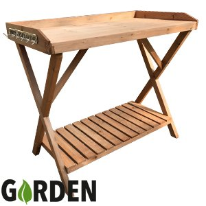 A2Z Home Solutions New Garden Wooden Potting Table Flower Plants With Hooks To Hang Tools And Large Work Surface Garden 5868