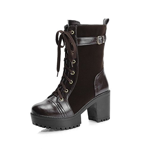Women's Blend Materials Low-Top Solid Lace-Up High-Heels Boots