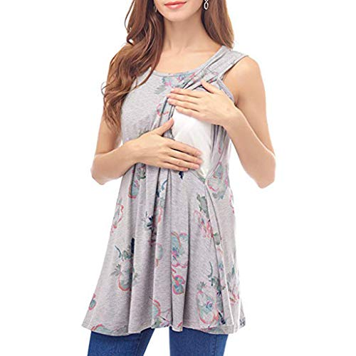 (Women's Pregnant Dress Sleeveless Floral Tops Breastfeeding Nusring Maternity Clothes(Gray,M))