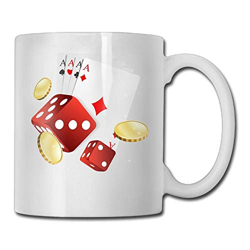 Dr-Drin Art Poker Dice Coin 11 Ounces Coffee Mug Novelty Ceramic White Tea Cup Coffee/Tea Cup Gift For Father's Day Or Friend,Mother,Birthday ()