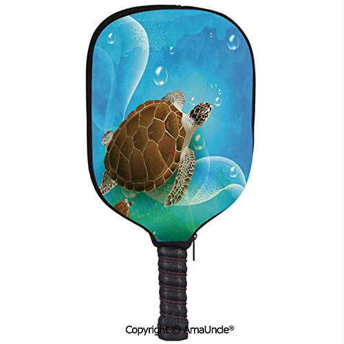 - SCOXIXI 3D Pickleball Paddle Racket Cover Case,Turtle Family Swimming in The Ocean Bubbles Underwater World Cartoon Fun ArtworkCustomized Racket Cover with Multi-Colored,Sports Accessories