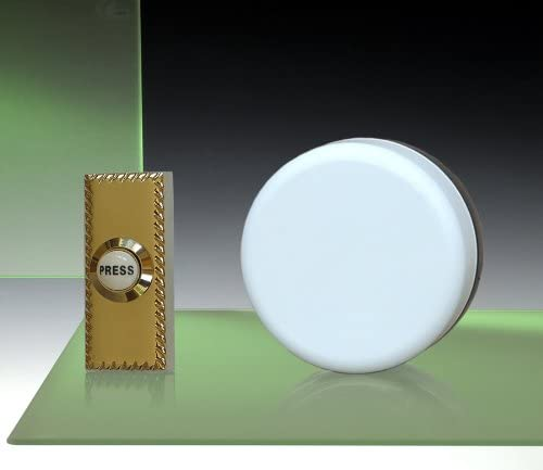 Brass Push with porcelain button Imperial White Wind-up Doorbell