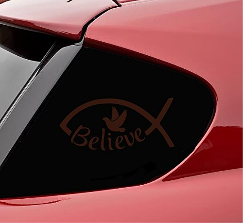 Believe christain Vinyl Decal Sticker bible motivational uplifting spiritual inspirational (Chocolate Brown) Spiritual Chocolate