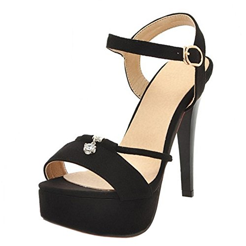Shoes Stiletto Black Summer Sandals Women Ankle Strap TAOFFEN Heel R05qawAz