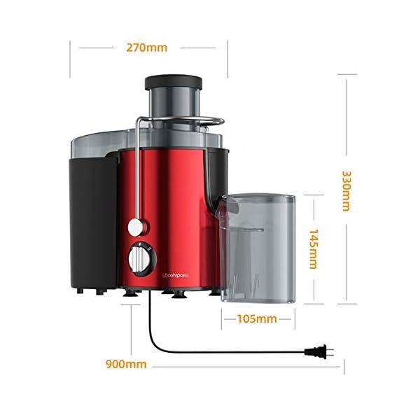 Zmsdt Juicer Sali estrattore di succo in bocca, velocità centrifuga spremiagrumi macchina for la frutta e Piedi Vegs, antiscivolo, BPA-free, facile e veloce Clean (Color : Red) 3 spesavip