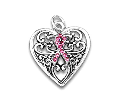 Pink Ribbon Heart Breast Cancer Awareness Rhinestone Clip On Charm for Bracelet