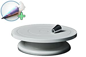 Rotating Cake Stand Decorating Set , White Turntable Cake Stand Plastic Pedestal with Icing Tools (Russian Tip and Icing Bag), Revolving Stand with Stable Non Slippery Base, By Nybestsolutions.